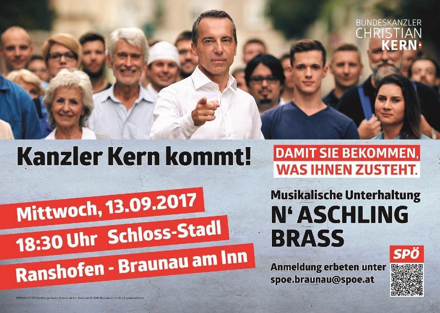 Kanzler Kern kommt Mittwoch 13.09.2017 18:30 Uhr Schloss-stadl Ranshofen - Braunau am Inn