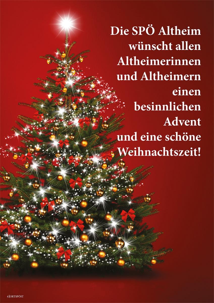 Die SPÖ Altheim wünscht allen Altheimerinnen und Altheimern einen besinnlichen Advent und eine schöne Weihnachtszeit